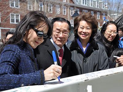 Angela, James and Elaine signing